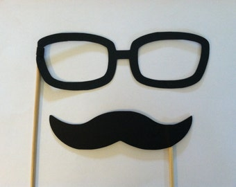 Mustache and Glasses on a stick, Wedding photo props, photo booth props