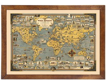 Pictorial world map etsy world wonders pictorial map 1939 ready to frame 24 x 36 gumiabroncs Gallery