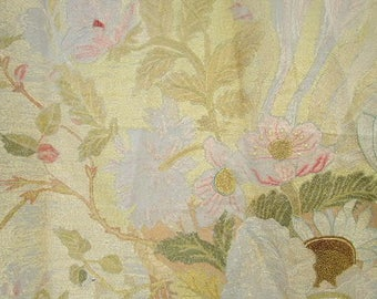 Victorian Floral Embroidered Linen Wall Hanging Bed Canopy Country Home Interior Design Textile
