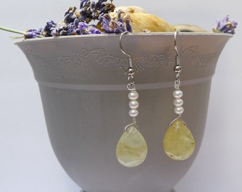 Pearl stacked Prehnite Drop-Laura Earrings