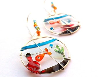 Goldfish earrings, goldfish bowl jewelry, colorful dangle earrings, wearable art