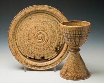 tall pottery chalice and large plate set, liturgical vessels