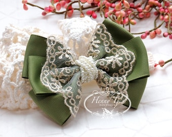 NEW: Ella Grace Collection - Dark Olive Green Ribbon and Lace Hair Bow knot Applique. DIY Hair accessories. Fabric pearl bow.