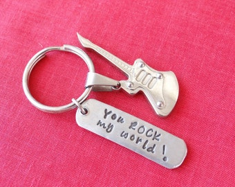Custom Guitar Keychain, You Rock My World, guitar, stainless steel, custom keychain, guitar keychain, valentines gift for dad