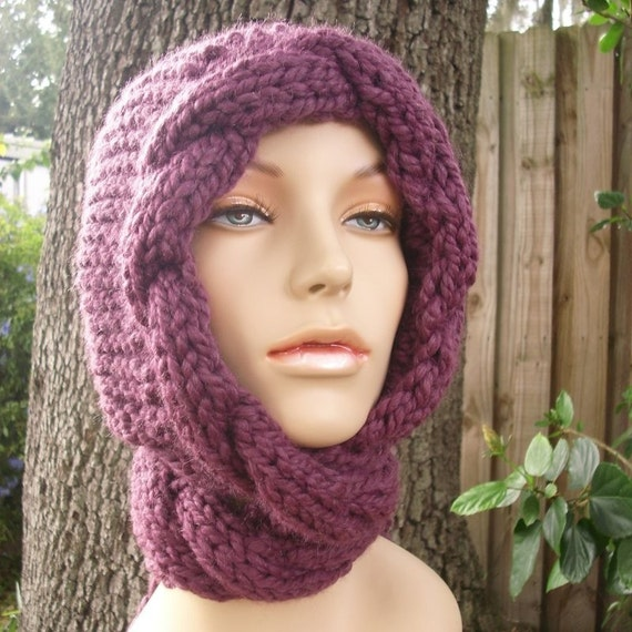 Knit Hat Womens Hat - Purple Cable Scarf Hat in Purple Fig - Purple Hooded Scarf Purple Scarf Purple Hat - Womens Accessories