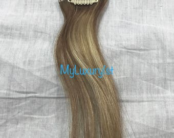 1 Piece Clip in Streak ASH Brown Blonde blended clip Highlight Remy Human Hair Extensions 19 inches Real Streak Reusable Highlight straight
