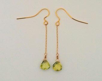 Green Amethyst Earrings, Prasiolite Faceted Gemstone Gold Earrings,Long Dangle Earrings,Green Amethyst, Pale Green Earrings,Natural Gemstone