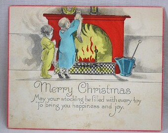 Art Deco Christmas Card Boy and Girl Hanging Stockings at Fireplace / 1930 Holiday Card
