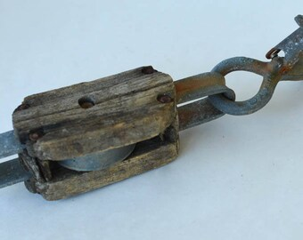 Antique Pulley, Wood and Iron, Rustic Pulley and Hook, Industrial, Farmhouse Decor