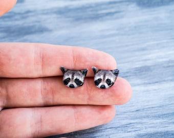 raccoon gifts , raccoon jewelry , woodland jewelry , forest jewelry , forest earrings