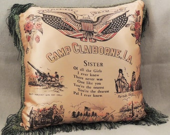 Silk Military Pillow, Collectible Military Pillow, WWII Military Pillow, Sister Pillow Military Souvenir, Military Collectible