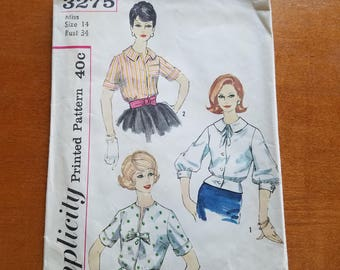 1960's Blouse Sewing Pattern Simplicity 3275 Size 14 Bust 34, Blouse with 3 options