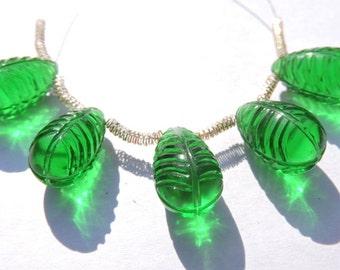 5 Pcs Outrageous Peridot Green Quartz Hand Carved Drops Briolette Size 15*9 MM