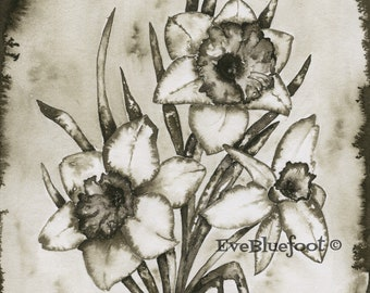Narcissus Flower Painting, Black and White Fine Art Print, Dark Flower Bouquet Illustration, Gloomy Daffodil Paiting, Moody Wall Art Deco