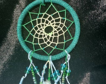Green and Blue Feather Dream Catcher