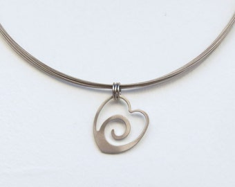 Heart Wave pendant by Marsh Scott with 18 inch steel strand choker