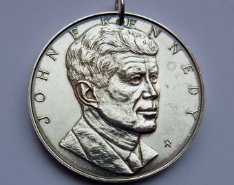 Vintage JFK Commemorative Medal - sterling silver - made into a pendant with loop - 26 grams - Franklin Mint