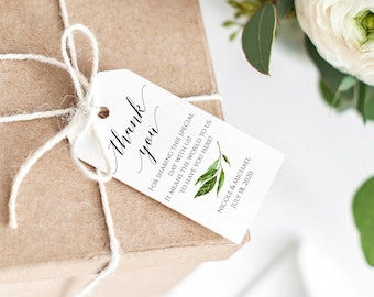 Wedding Thank YouTag, Printable Thank You Tag, Favor Tag, Greenery Thank You Tag, Editable Template, PDF, Instant Download, Wedding Tags, C8