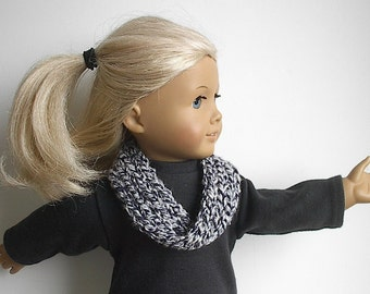 18 Inch Doll Clothes Knit Infinity Scarf or Cowl in Black and White Tweed Handmade to Fit the American Girl and Other 18 Inch Dolls