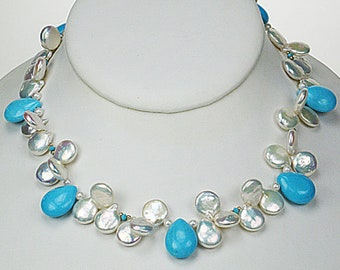 Arizona turquoise and coin pearl necklace