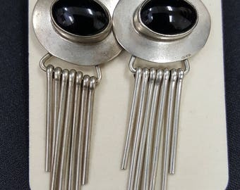 Sterling Silver Dangle Earrings Black Onxy