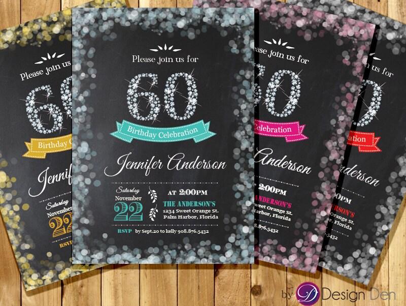 Adult 60th Birthday Invitation. Bokeh Invitation. Diamond