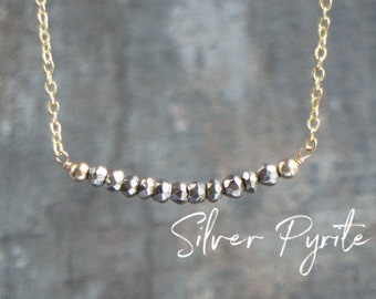Silver Pyrite Necklace, Bridesmaid Gifts, Bar Necklace, Girlfriend Gift, Dainty Necklace, Choker, Gemstone Bead Necklace, Pyrite Jewelry