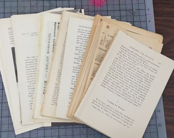100 Book Pages, junk journal pages, Vintage book pages