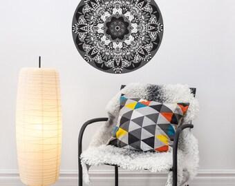 "Black & White Boho Mandala Fabric Wall Decal Removable and Reusable 24"" or 36"""
