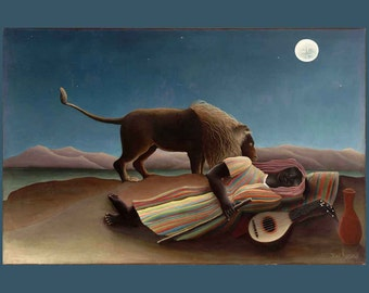 The Sleeping Gypsy ~ Henri Rousseau 1897 - French Naïve -  Giclee Art Print
