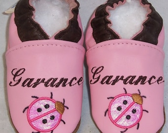 personalized leather soft soled baby shoes monogrammed for girls , baby girl shoes, newborn shoes ,personalized shoes.