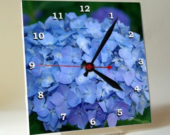 Blue hydrangea decorative clock, nature inspired desk clock, unique wall clock home decor, housewarming gift Christmas gift for gardener