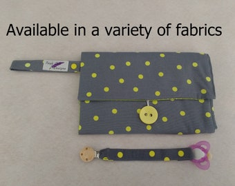 Nappy Wallet integrated with waterproof Change Mat - threepockets-Buzoku Fluro Small Spot Duck grey & yellow/Multiple patterns available