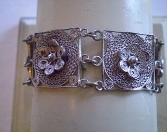 antique Linked SILVER LACE Chrysanthmum Bracelet '20s