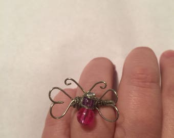 Pink and purple butterfly wire wrapped ring