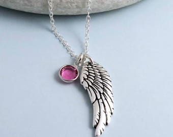 Angel Wing Necklace - personalised  birthstone, silver wing necklace