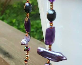 Purple Long Earrings, Amethyst Long Earrings