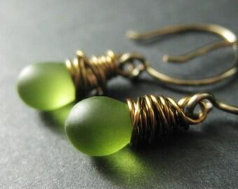 Green Teardrop Earrings Wire Wrapped in Bronze - Elixir of Granny Apples. Handmade Earrings.