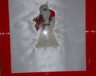 Framed Victorian Santa Embroidery Decor