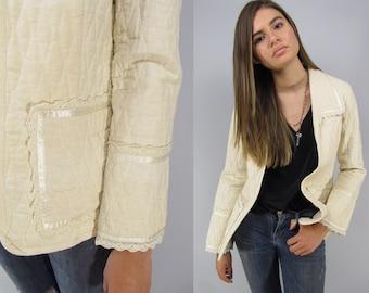 Vintage 70s Gunnies Sax Quilted Jacket, Boho Jacket, Natural Cotton Jacket, Hippie, Crochet, Ecru Jacket Δ size: sm / md