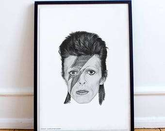 David Bowie Pencil Drawing Print -Portrait Poster -  LIMITED EDITION (A3) (only 500)