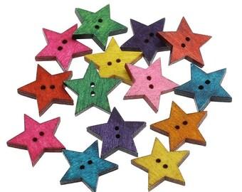25 Boutons étoiles couleurs variées - lot de boutons en bois 24mm