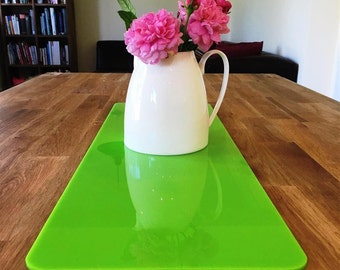 Rectangular Table Runner in Lime Green Gloss Finish 3mm Acrylic - 2 Sizes Available