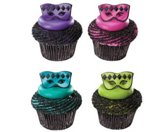 24 Mardi Gras Masquerade Masks Foil Cupcake Rings Party Supplies Cake Toppers Decorations