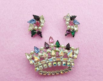 B David Crown and Clip Earrings Brooch Sparkling Colorful Royal Monarchy Regal Queen