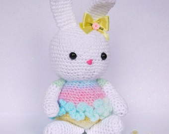 Large Amigurumi Crochet Rainbow Bunny. Lovely New baby, Easter Bunny or Birthday gift. Made in Rainbow soft acrylic yarn.