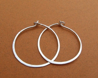 sterling silver hammered hoops  1-1/4 inch 1.25 inch 20ga 18ga
