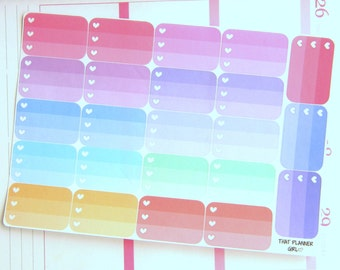 Half Box 3 Heart Check Boxes  - Pastel Rainbow Ombre Check Lists - 23 stickers total