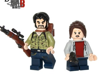 The Last of Us Joel and Ellie Minifigures. Made using LEGO & custom parts.