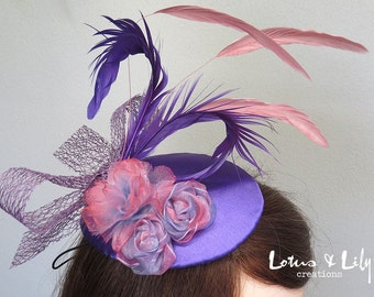 Fascinator, Headpiece, Pink, Purple and Lilac Mauve with Flowers and Feathers.
